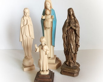 Vintage Lot of Virgin Mary Religious Figurines
