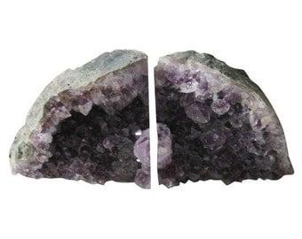 Vintage Pair of Amethyst Crystal Bookends