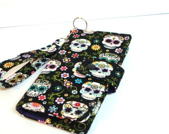 iphone Card Wallet - Cell Phone Case for 4s, 5, 6, 6 Plus with Detachable Wristlet Sugar Skulls with Flowers