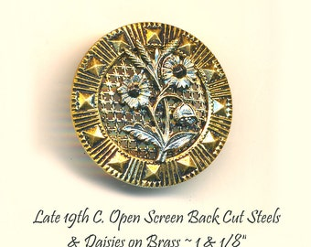 Button--Late 19th C. Brass Screen-back Detailed Daisys with Cut Steels