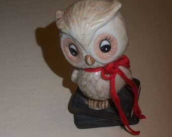 Vintage Taiwan Small Porcelain Owl on Books figurine Copyright J.S. N.Y.