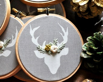 Gold and Sage Deer Embroidery Ornament. First Christmas Ornament. Floral Deer Ornament. Handmade Christmas Ornament. Babys First Christmas.