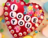 Kawaii Valentines Day I Love You Sweetheart Brooch - Vintage Box of Chocolates with Flowers - Conversation Hearts