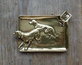 Hunting Dogs Antique Brass Ashtray