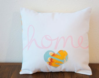 SALE!! Light Blue, Orange, and Pink 'Home' Pillow Cover (14 inch) (original price: 35.00)