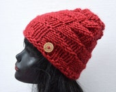 Chunky Knit Beanie - Dark Red - Warm Wool Winter Hat - Nordic Island Beanie
