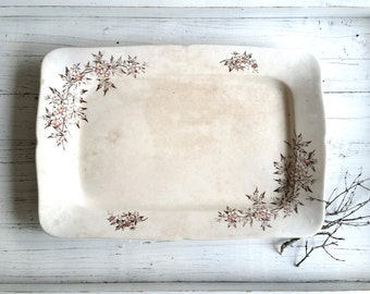Antique Ironstone Platter . Transfer Ware . 1900 . Home Decor . Farmhouse . Cottage