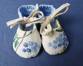 Lovely hand embroidered blue flower baby shoes, reclaimed vintage linen and cotton