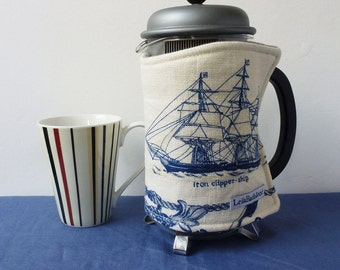Sailing ships blue and cream, repurposed, linen coffee pot cosy, nautical style french press cozy