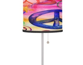 Peace sign table lamp from my art