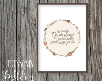 You Are Enough, Floral Wreath Wall Art