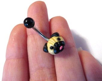 Pug Belly Button Ring Navel Stud Jewelry Bar Barbell Piercing Bellyring Dog Puglife Azeetadesigns