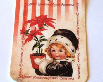 Christmas Tags - Set Of 6 - Vintage Look - Poinsettia Tag - Santa Tag - Holiday Home Tag - Xmas Tags,Thank Yous,Red Stripe Tag,Ready to Ship