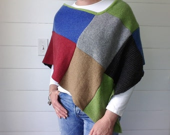 Womens Patchwork Poncho - PDF Printable sewing PATTERN