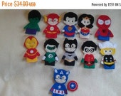 Flash Sale Eleven Super Hero Finger Puppets...  Avenger and Justice League