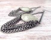 Long Bohemian Gemstone Earrings - Gray Earrings - Girlfriend Gifts Under 20 - Gypsy Earrings - Statement Jewelry - Boho Jewelry - Everyday