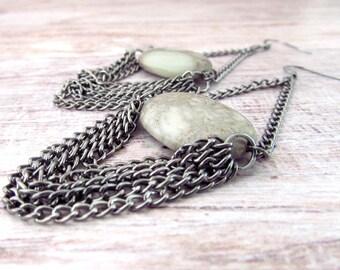 Bohemian Gemstone Earrings - Womens Long Gypsy Earrings - Boho Gemstone Earrings - Womens Gemstone Earrings - Womens Fringe Earrings - Boho