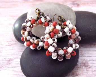 Copper Beaded Hoop Earrings - Beaded Copper Hoop Earrings - Boho Beaded Hoop Earrings - Beaded Boho Hoop Earrings - Bohemian Jewelry - Gifts
