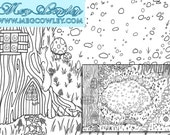 Faerie Ring - Fantasy Colouring Book Page. Printable digital download page perfect for coloring, scrapbooking, cardmaking, gifting + more!