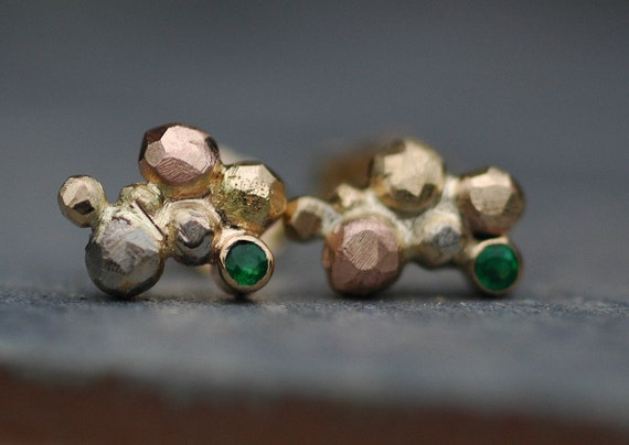 Little Emeralds in Orb Cluster Rose, White, and Yellow Gold Post Earrings- Made to Order