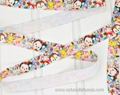 """Disney Tsum Tsum Inspired FOE Fold Over Elastic Ribbon 5/8"""" for Headbands Hair Ribbons Hairbands or even Wrapping"""