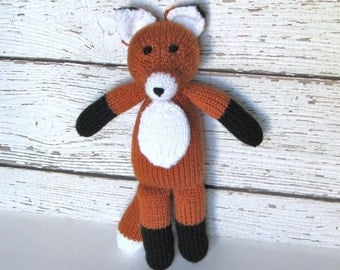 Hand Knit Stuffed Animal Fox, Ready To Ship, Woodland Animal, Knit Toy, Baby Toy, Plush Doll, Knit Animal, Soft Toy, Toddler Gift 13 1/2""