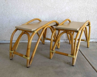 Vintage Mid Century Paul Frankl Style Bamboo End Tables. Circa 1950's - 1960's.