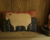 Primitive Sheep on Antique Coverlet Pillow