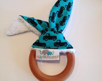 Teething Ring, Maple Teether, Bunny Teething Ring with Ears, Natural Teething Ring, Bunny Ear Teething Ring, Trucks on Teal