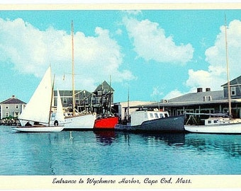 Vintage Cape Cod Postcard - Entrance to Wychmere Harbor, Harwich Port (Unused)