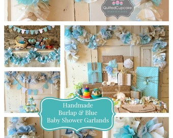 Burlap and blue Baby Shower Party Decoration 6-10 foot fabric Garland Banner, Burlap Party Decor & Photo Backdrop, Handmade, Baby Boy Shower