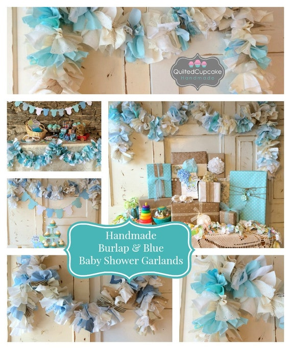 Italian Boy Name: Burlap And Blue Baby Shower Party Decoration 6-10 Foot Fabric