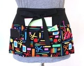 teacher apron - teacher appreciation gift - back to school - preschool apron - black teacher apron - craft apron zipper pocket utility apron