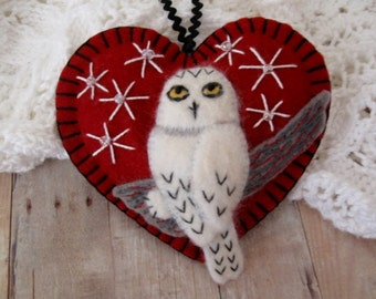 Snowy Owl Ornament in Dark Red - Ready to Ship Embroidered Fiber Art