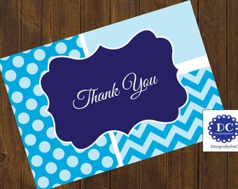 Blue Chevron and Polka Dot Thank You Cards, Thank You Card, Chevron and Polka Dots, Chevron, Polka Dots, Blue - Instant Download