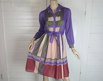 70s Color Block Day Dress- Lavender & Olive Green- 1970s- Small