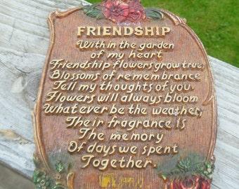 Cool vintage Syroco  wood friendship souvenir plaque
