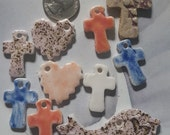 crosses, heart and bird ceramic charms, Christmas charms, Christmas supply, by Styx on Etsy