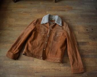 Vintage Western Suede Leather Jacket Sherpa Lined Men's size Medium