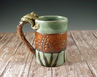 Green and Brown Pottery Mug - Ceramic Teacup - Frog Mug - by Botanic2Ceramic - 928