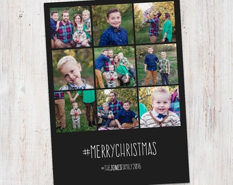 Photo Christmas Card : Hashtag Merry Christmas Instagram Style Custom Multi-Photo Holiday Card Printable, Photo Collage