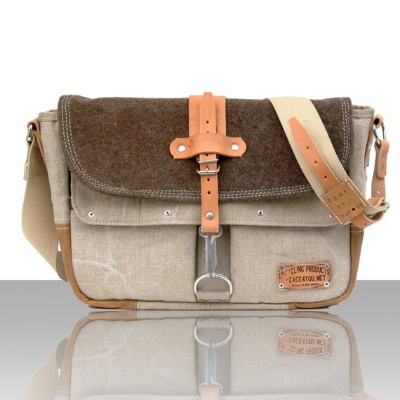 Canvas Messenger Recycled Swiss Cross Blanket Used Leather Jacket Crossbody Unisex  / Handmade in GERMANY - Model paul-2032 ( Size Options )