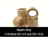 Unfinished Wood Napkin Ring Smooth - 1-5/8 outside diameter 1-1/4 inside diameter and 1-1/8 band wooden shape (WW-NR0151)