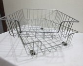 Wire Desk Tray Industrial File Baskets Set of 2