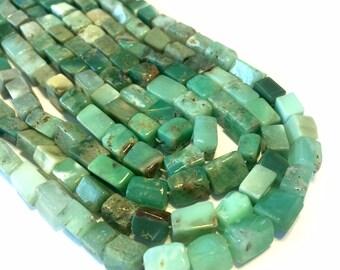 Chrysoprase rectangle beads full 14inch strand shaded green Australian chrysoprase