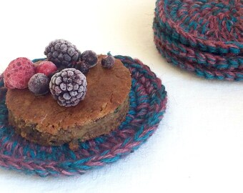 Crochet Circle Coasters - Multicolored Coasters - Coaster Set of 4 - Gift for mom - Gift under 20 - Rustic Home Decor - Hostess Gift