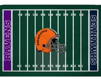 TWO FOOTBALL TEAMS Custom Plush Fuzzy Area Rug -American  Football Field Theme -Size 48x30,  96x44, 96x60-Other Colors available