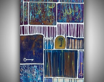 """Hand-Painted Original Acrylic Abstract Painting Keys, Blue, Purple, Copper, White, Yellow, Gold by Robin Winningham 30"""" x 20"""""""