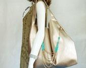 Gold Handbag, bright gold slouch hobo, metalic gold faux leather shoulder bag, large shimmery gold bag, gold & turquoise bag