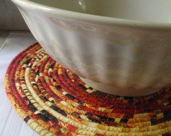 Coiled Table Mat, Hot Pad or Trivet in Warm, Earthy Colors for your Kitchen - EXTRA LARGE ROUND - Handmade by Me